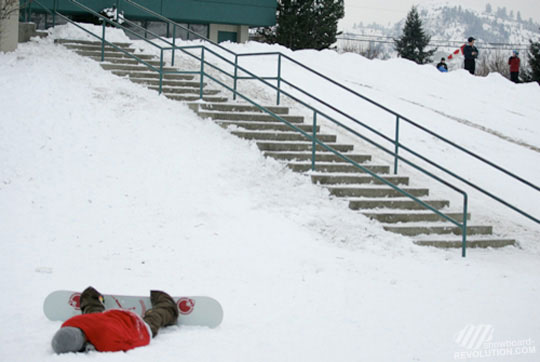 Snowboarders get Mad at Handrails